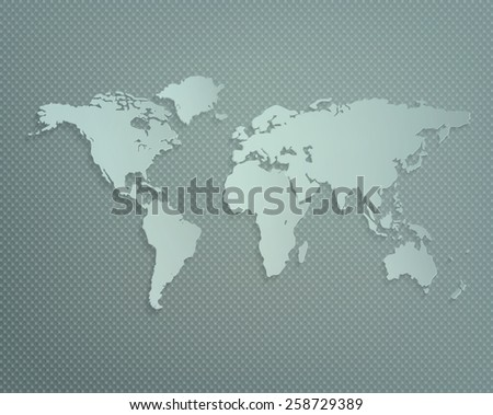 Dimensional World Map With Shadow On A Gray Textured Background - stock vector