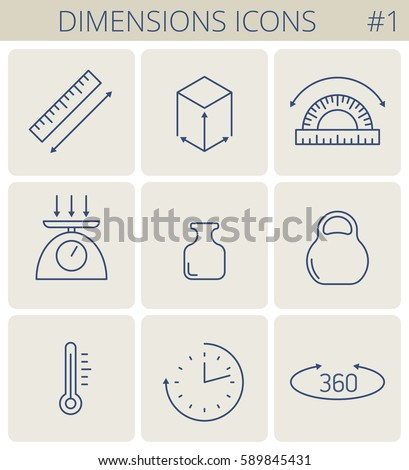 Dimensions and measure outline icons: weight, height, width, depth, length, angle, time, temperature. Vector thin line measurement symbol set. Isolated infographic elements for web, social network.