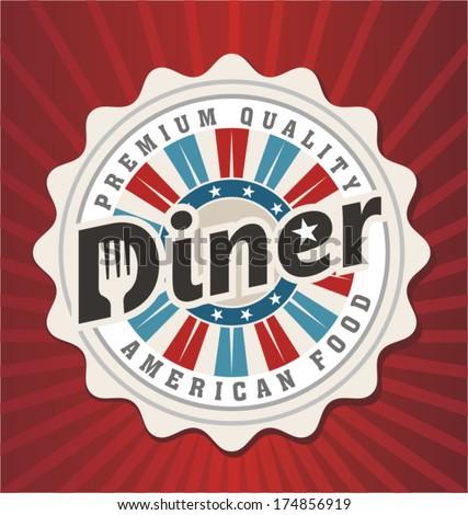 Diner, retro poster design - stock vector