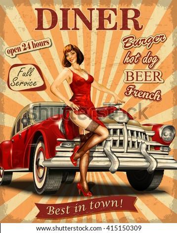 Diner vintage poster. - stock vector