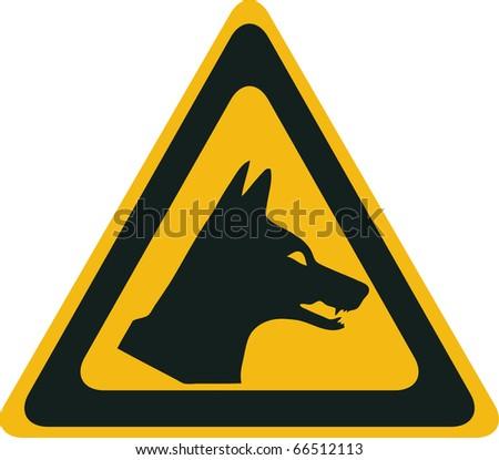 Dingo danger, vector warning sign - stock vector