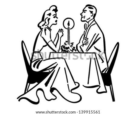 Dining Couple - Retro Clip Art Illustration - stock vector