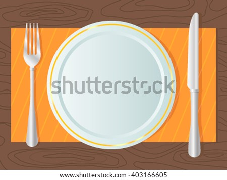Dining equipment- fork, a knife, a plate on the table top. Flat vector illustration - stock vector