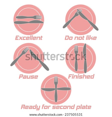Dining etiquette. Table manner, knifes and forks signals. Cafe restaurant. Flat design style. Made vector illustrator - stock vector