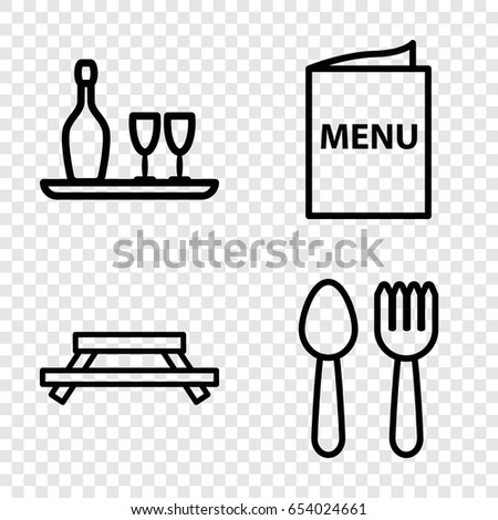 Dining icons set. set of 4 dining outline icons such as spoon and fork, wine bottle and glass, menu