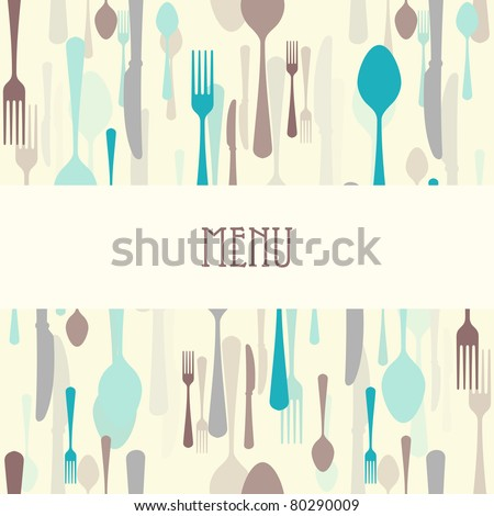 Dining menu with plate - stock vector