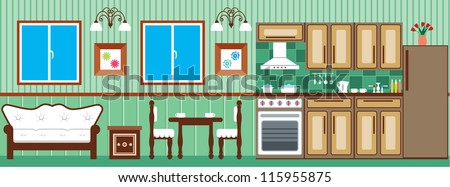 Dining room and kitchen. Interior. vector - stock vector