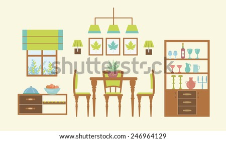 dining room interior template typical furniture items help to demonstrate design ideas - Dining Room Items