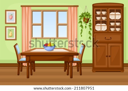 Dining room interior with table and cupboard. Vector illustration. - stock vector