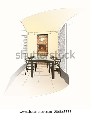 Dining room interior with table in dutch style. - stock vector