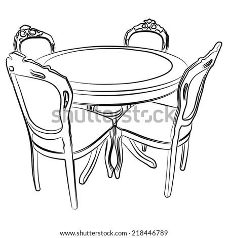 dining room, vector - stock vector
