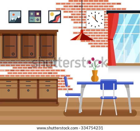 Dining room with furniture in flat vector style. Interior design, table and decoration picture illustration - stock vector