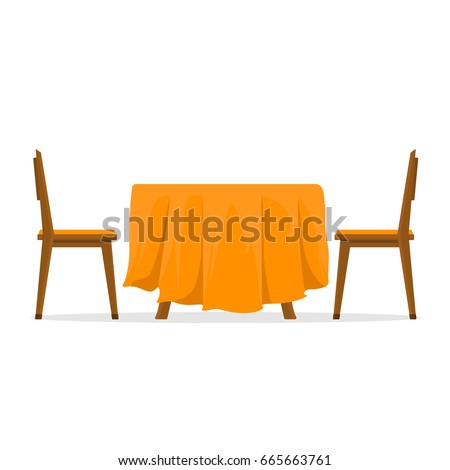 Dining Table And Chairs For Two People. Vector Illustration In Flat Style  Isolated On White