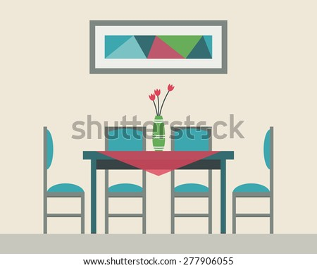 flowers on dining table dining table date glasses wine flowers stock vector 371927386