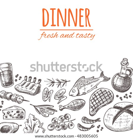 Restaurant Kitchen Hand hand drawn dinner poster elements kitchen stock vector 325512362