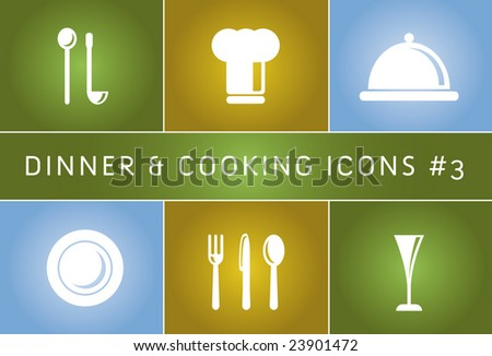 Dinner & Cooking Vector Icon Set #3 - stock vector