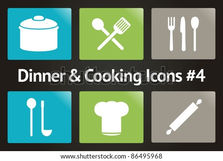 Dinner & Cooking Vector Icon Set #4 - stock vector