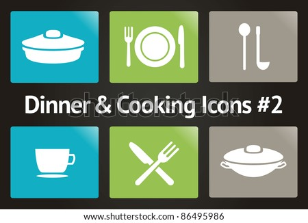 Dinner & Cooking Vector Icon Set #2 - stock vector