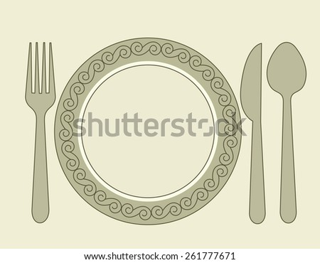 Dinner invitation card background with spoon, knife and fork - stock vector