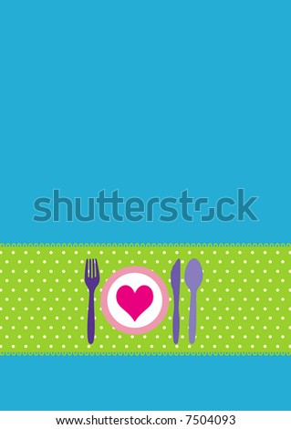 Dinner invitation design with spoon, fork, knife and dinnerplate - stock vector