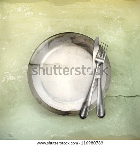 Dinner place setting, old-style vector - stock vector