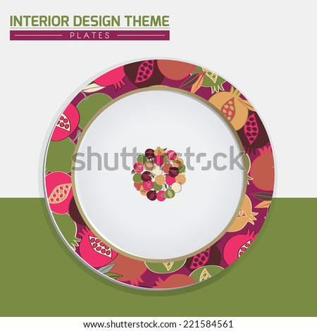 Dinner plate design vector template. Dinner plate decorated with Pomegranate original pattern & Circle Pomegranate decorative banner. Modern home interior design element. Vector is layered & editable. - stock vector
