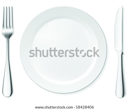 Dinner plate, knife and fork. Vector objects collection. - stock vector