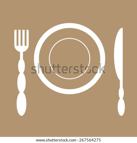 Dinner plate with cutlery: knife and fork