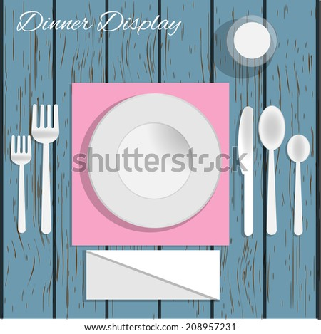 Dinner plate with cutlery: knife and fork, isolated on white