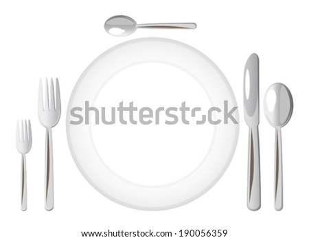 Dinner plate with forks, spoon, dessert spoon and a knife