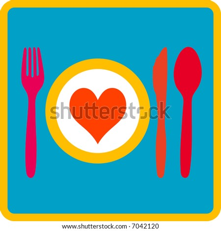 Dinnerplate with heart and cutlery (Spoon, fork, knife) - stock vector