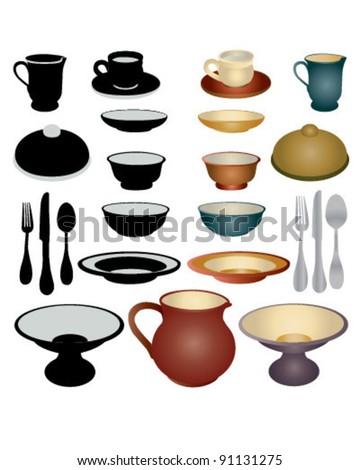 Dinnerware Set - stock vector