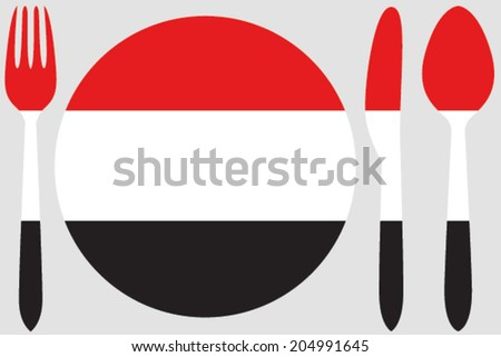 Dinnerware with the flag of Yemen - stock vector
