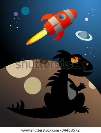 Dino and Rocket in space, vector illustration - stock vector