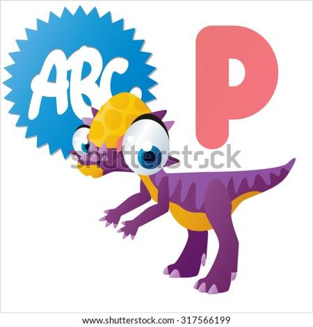 Dino Animal ABC: P is for Pachycephalosaurus - stock vector