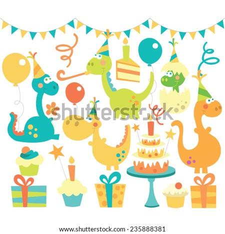 Dino birthday set - stock vector