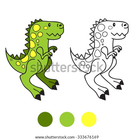 Dino Dinosaur Coloring Book Page Cartoon Vector Illustration Game For Children