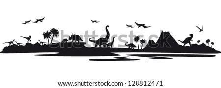 Dino landscape - stock vector