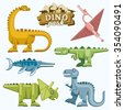 Dinosaur and prehistoric animals flat icons set. Pterodactyl tyrannosaurus triceratops and brontosaurus, vector illustration - stock photo