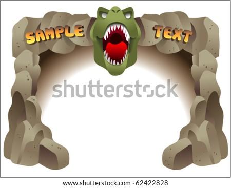 dinosaur border - stock vector
