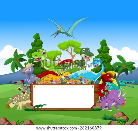 Dinosaur cartoon with landscape background and blank sign  - stock vector