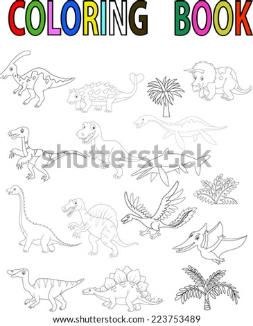 Dinosaur coloring book - stock vector