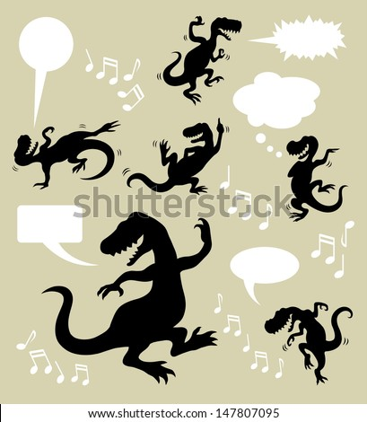 Dinosaur Dancing Silhouettes. Animal in action silhouettes with blank speech bubbles and musical symbol. Good use for your web symbol, icon, or any design you want. Easy to edit or change color.  - stock vector