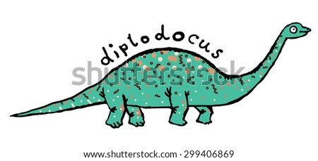 Dinosaur Diplodocus. Cute dino cartoon. - stock vector