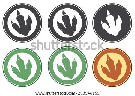 Dinosaur Footprint Circle Label Design. Vector Collection Set - stock vector
