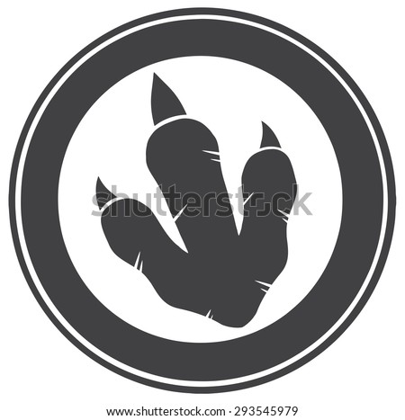 Dinosaur Footprint Circle Label Design. Vector Illustration - stock vector