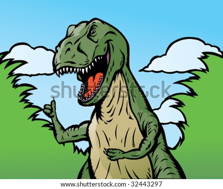 Dinosaur giving thumbs up.  He can be holding anything and he is separate from background. - stock vector