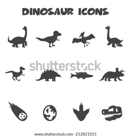 dinosaur icons, mono vector symbols - stock vector