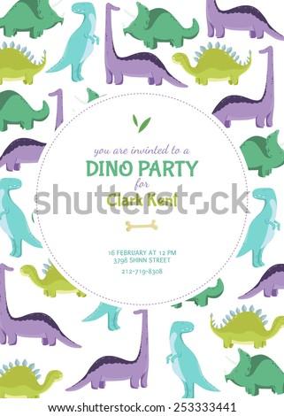 Dinosaur invitation card. Vector illustration. - stock vector