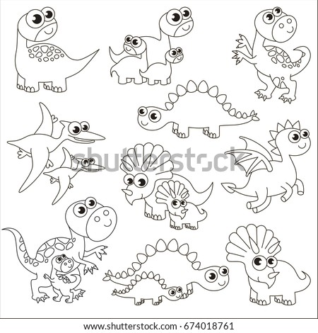 Dinosaur Kids And Mothers Elements Set Collection Of Coloring Book Template The Group